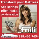 "The FROLI System, developed in Germany has made a big hit with the USA  recreation and leisure travel market. Nickle Atlantic will be at the Annapolis Sail Boat Show, October 8 - 12, in Booth D-20... you will be able to see this sleep enhancement for yourself. FROLI's modular interlocking composite springs slip right under your existing mattress to give you a combined comfortable and ventilated sleeping environment. The FROLI System of interlocking springs, allows your bedding to conform to body shape while reinforcing for that orthopedic great night's sleep. FROLI's  interlocking synthetic springs are the perfect foundation for your boat mattress and add only about 1 1/2"" in height. The modular system fits any size or shape bunk and is simply placed under the mattress or cushion. Its highly flexible springs react to your body weight and you will enjoy exceptional comfort, without any pressure points. What's more, the adjustable firmness lets you customize the feel in a variety of ways. This lets you create a His and Hers side, for example. We've even heard of people who now sleep better on their boat than at home! And if that's not enough, the increased air circulation under the mattress virtually eliminates condensation and moisture buildup. No more flipping cushions up for drying!"