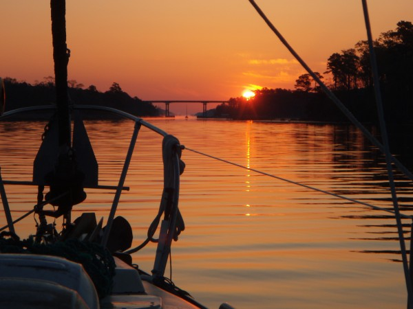 Sunrise Northbound on the Alligator River - Pungo Canal