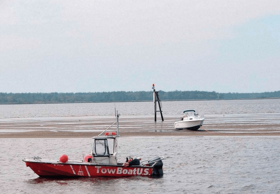 A boat is shown stranded on a shoal in the Intracoastal Waterway. A local section of the waterway between Isle of Palms Connector and Ben Sawyer Bridge will be dredged to make marine travel easier. The federal government has appropriated $2.4 million for the project.