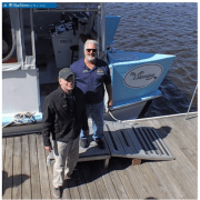 Ned W. Rhodes, lead instructor with Cape Fear Sail & Power Squadron (right) poses with Capt. Doug Springer of Wilmington Water Tours. CONTRIBUTED PHOTO